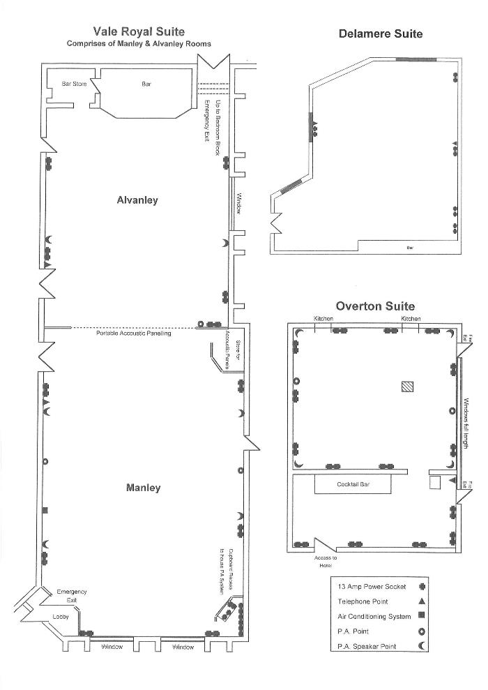 Conference room layouts for the Vale Royal Suite and Overton Suite  and Delamere