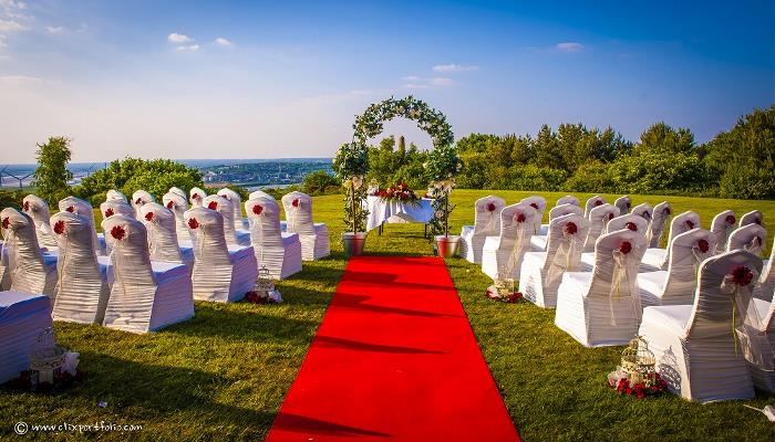 Beautiful May evening set up for a Civil Wedding Ceremony